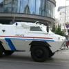 Der Polizei-Panzer in Luxembourg Stadt