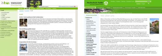 Seitenaufbau HTW Berlin - FH Fulda