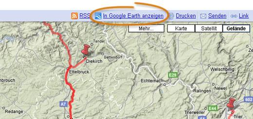 'In Google Earth anzeigen' bei Google Maps