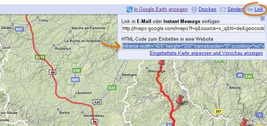 Erst 'Link', dann 'Embed' bei Google Maps